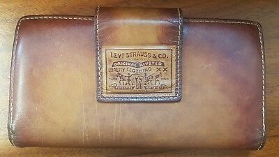 Vintage Levi Strauss Tan Leather Wallet Coin Purse Genuine Cowhide