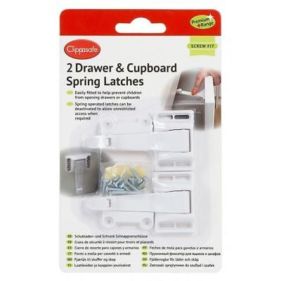 Clippasafe 2 Drawer & Cupboard Spring Latches Safety+ Baby/Child Safety