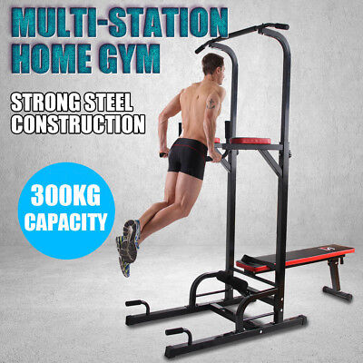 Home Gym Fitness Power Tower Pull Up Dip Knee Raise Chin Up Weight Bench Station
