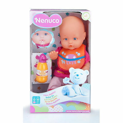 Nenuco Makes Bubbles Doll with Bib, Bottle and Dummy New