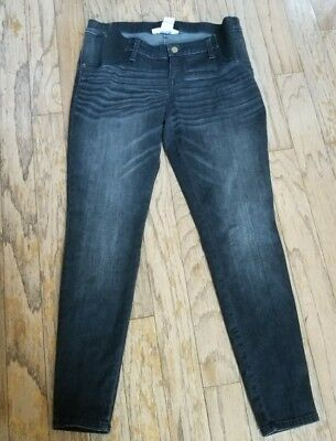 Liz Lange  Maternity Women's Black Denim Jeggings W Side Panel Sz 12 Pre-owned