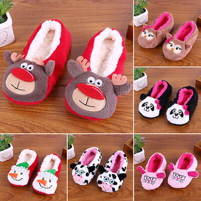 Women Men Winter Xmas Warm Antiskid Slippers Soft Plush Indoor Home Shoes 1Pairs