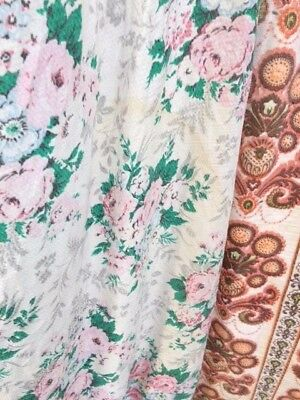 lot of barkcloth fabric vintage floral and retro 70s