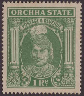 India Feud Orchha 1939-42 SG42 1r Grey-green VLMM CV£40