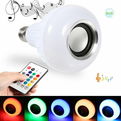 Bluetooth Speaker 12W E27 RGB LED Light Bulb Wireless Music Playing Remote EN