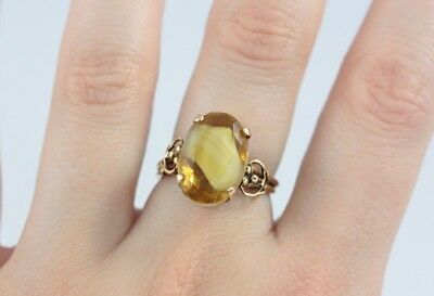 Antique Victorian Costume Ring Large Yellow Glass Stone Adjustable