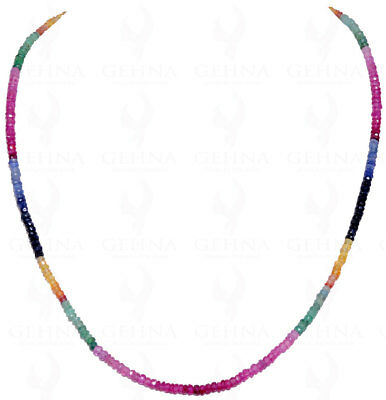 Emerald, Ruby & Blue Sapphire Gemstone Faceted Bead Necklace-NP1088