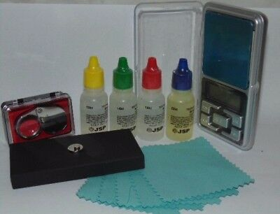 GOLD TESTING KIT, 9-22CT GOLD TEST ACID, TEST STONE, 500g SCALES, CLOTHS, LOUPE
