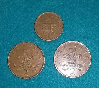 2p 1971 new pence - 2p 1981 new pence  - 1p 1974 new penny. Rare.