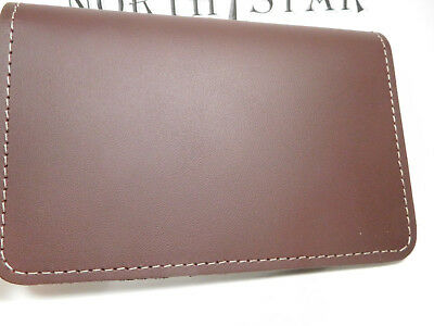 North Star Top Stub Burgundy Premium Leather Checkbook Cover-2nd-Made In USA#131