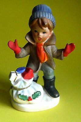 Japan / Napco  / Christmas Boy with Santa's Bag of Toys Figurine