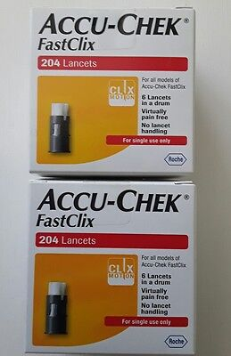 Accu chek fast clix (204) x 2 boxes new and sealed