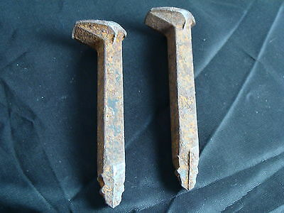 2 Antique Old Railroad Nail Spikes