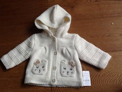 cream knitted hooded Warm cardigan Coat newborn 0-3m BNWT Nutmeg