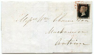 1840 1d black pl.10 SI on cover to Muckamore, Co Antrim, from Manchester- red MX