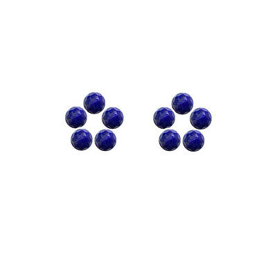 5x5mm 10pc AAA Quality Rose Cut Faceted Cabochon Lapis Lazuli Loose Gems