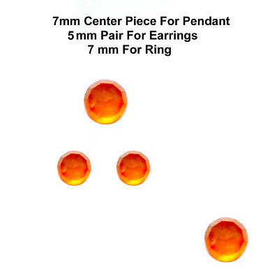 4 pc set 7/5 mm AAA Quality Rose Cut Faceted Cabochon Carnelian Loose Gems