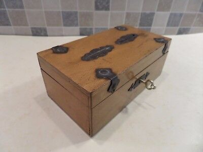 Victorian Wooden Double Slot Money Box With Gothic Style Metal Decor- Lock & Key