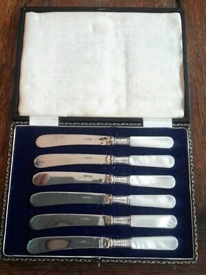 A Vintage Cased Set of 6 Silver Plated Tea Knives with Mother of Pearl Handles
