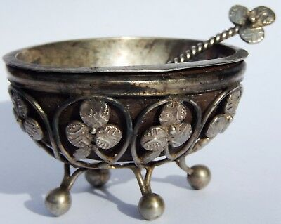 Antique Indian Solid Silver Salt Cellar & Spoon (27 silver Chukram Coins) c1890