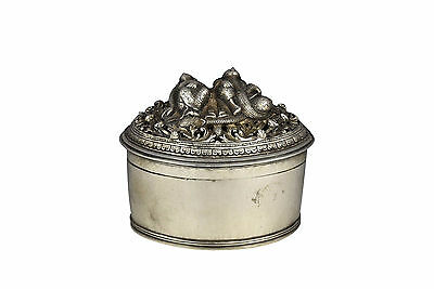 19th Century Burmese Silver Reticulated Covered Box w/ Characters