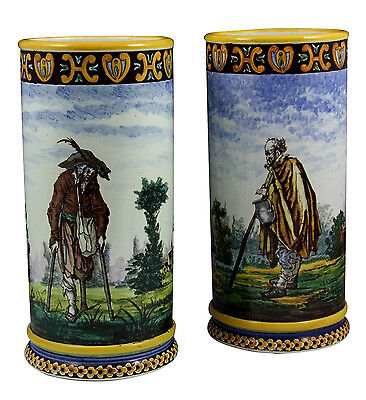 Wonderful Pair of Gien Cylindrical Vases w/ Unusual Characters