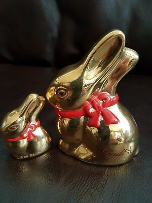 Lindt Bunnys gold coloured with red bows made by Villeroy& Boch 1748.