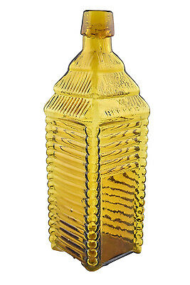 Antique Yellow 1860 Plantation X Bitters Glass Bottle Patented 1862