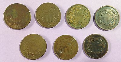 Lot of Seven 2 Cent Coins  1864 (2)  1865 (2) 1866 1868 1869