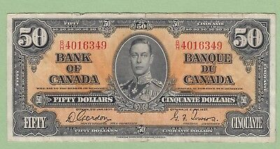 1937 Bank of Canada 50 Dollar Note - Gordon/Towers - B/H4016349 - VF