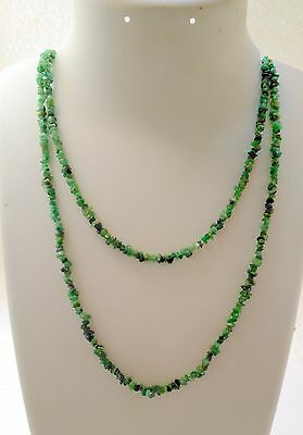 """58Cts Natural GenuineGemstone  Emerald  Jewellery Chip Nugget Beads 34"""" Necklace"""