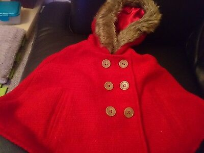 Brand new mini club red wool cape baby girl 12-18 months