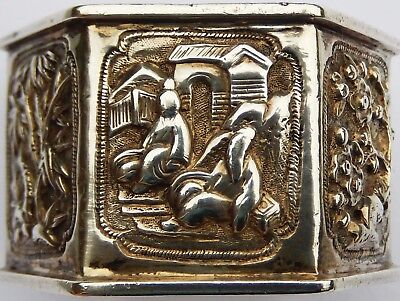 Fine Quality Antique Chinese Export Solid Silver Napkin Ring, c1890