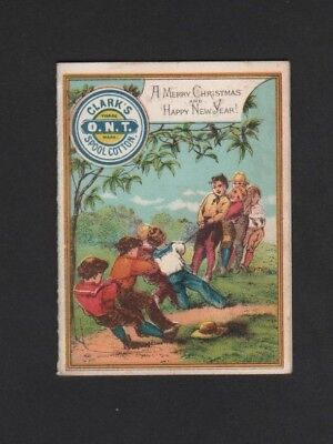 Vintage Folding Pocket Calendar 1880 Clark's ONT Spool Cotton Tug of War