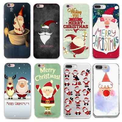 Xmas Santa Claus Pattern Soft TPU Phone Case Cover For Samsung Galaxy Phones