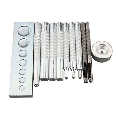 Set of 11pc Craft Tool Die Punch Snap Rivet Setter Base Kit DIY Tool Leather New