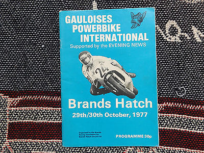 1977 Brands Hatch Programme 30/10/77 - Gauloises Powerbike International