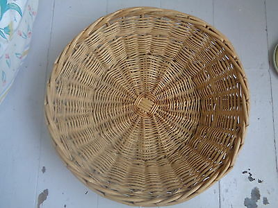 Large Rustic  Vintage French Bread / Baguette Basket Round Shabby Chic Storage