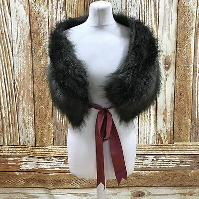 MONSOON Grey Brown Faux Fur Stole Wrap Shrug Shawl Occasion Party One Size 29813