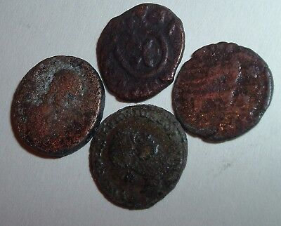 4 Authentic Uncleaned & not researched Ancient Bronze Coins Roma Rome Roman