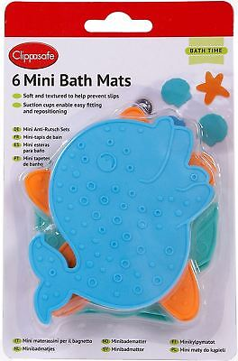 Clippasafe 6 MINI BATH MATS ASSORTED COLOURS Baby/Child/Kids Safe Bathing