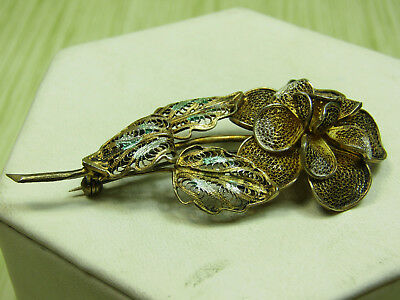 800 Silver Vintage Antique Filigree Flower Pin Brooch Jewelry