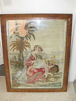 Antique Victorian Woolwork Tapestry Mahogany Frame Circa Late 1800's