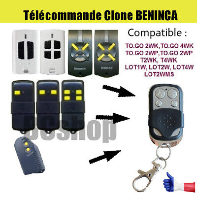 Telecommande portail garage BIP remplacement BENINCA TO GO 2WP TOGO 4WP / LOT W