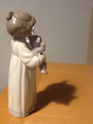 """NAO FIGURE of  GIRL WITH TEDDY, 8"""" tall .Perfect condition"""