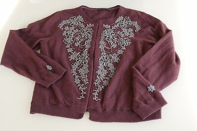 Purple Maroon Vintage Sequin Beaded Cardigan size 12