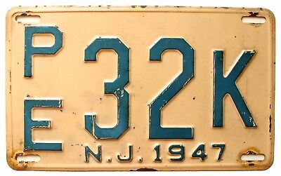 New Jersey 1947 License Plate, PE 32K, Passaic County, Antique, Garage Sign