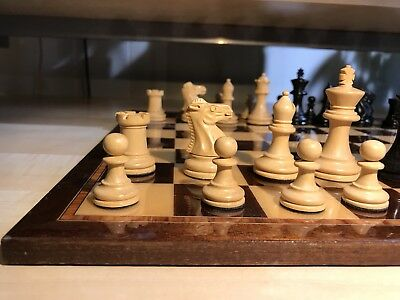 "Chess Set Pieces Board Analysis Wood Ebony 2 5/8"" King"