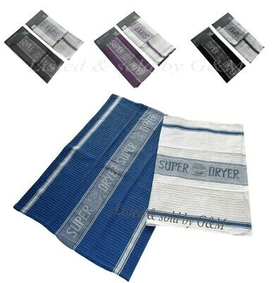 Pack Of 2 High Quality Super Dry Jumbo Tea Towels 2 Tone Special Weave