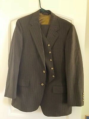 40R Vintage 50's 60's 70's 3 piece slim Suit Brown pin striped dry cleaned fit